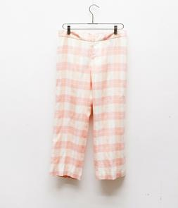 Brooks Brothers 100% Linen Country Club Pink Plaid Cropped G