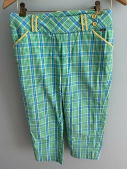 LILLY PULITZER GREEN PLAID GOLF JEANS PANTS SZ 2  SMALL