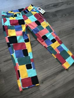 NWT LOUDMOUTH GOLF Womens Crop Capri Pants In Technicolor Dr