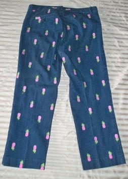 Vintage LILLY PULITZER Pineapple CAPRI Pants M Cropped Cruis