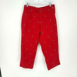 Liz Golf women cropped embroidered golf pants size 12 Red